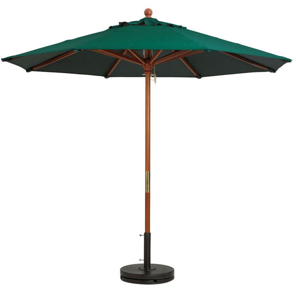 """Picture of Grosfillex 9 Ft. Wooden Market Umbrella with 11/2"""" Pole In Forest Green Pack Of 1"""
