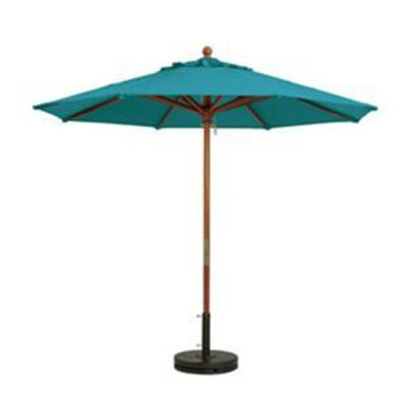 "Picture of Grosfillex 9 Ft. Wooden Freestanding Market Umbrella 2"" Pole In Aqua Pack Of 1"