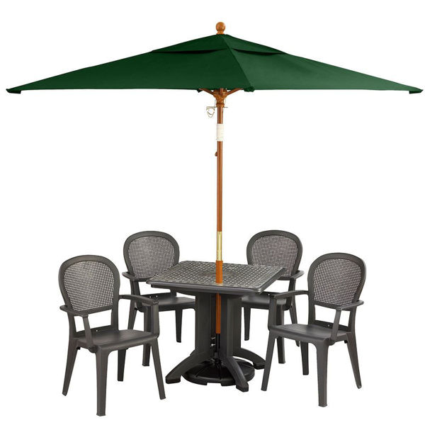 """Picture of Grosfillex 6.5 Ft. Square Wooden Market Umbrella with 1 1/2"""" Pole In Forest Green Pack Of 1"""