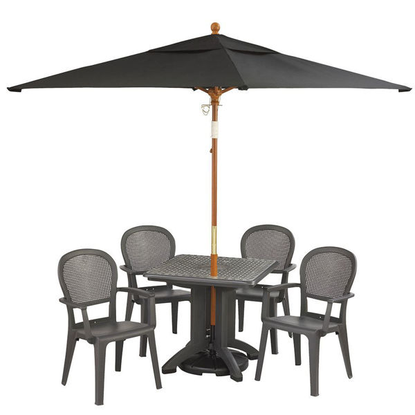 """Picture of Grosfillex 6.5 Ft. Square Wooden Market Umbrella with 1 1/2"""" Pole In Black Pack Of 1"""