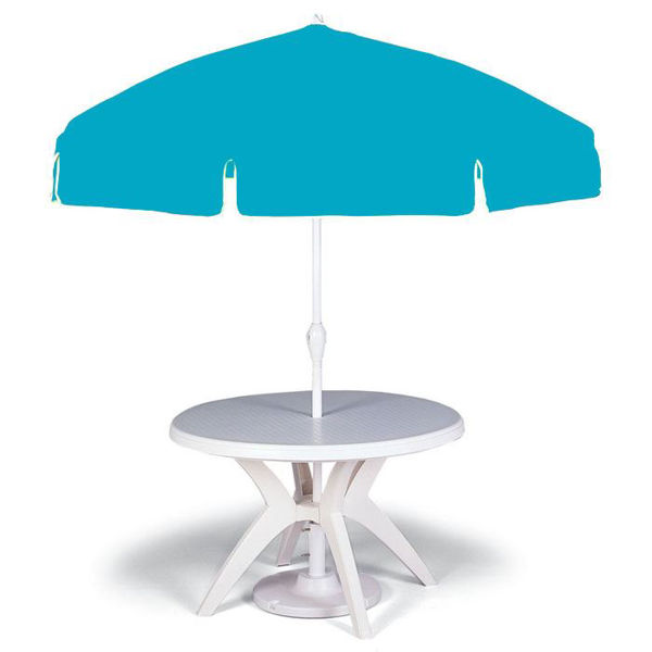 "Picture of Grosfillex 7.5 Ft. Push Up Umbrella with 1 1/2"" Pole In Pacific Blue Pack Of 1"
