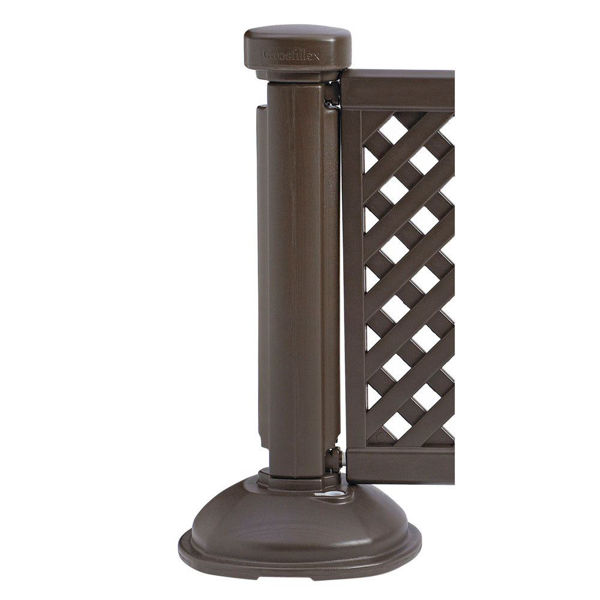 Picture of Grosfillex Resin Patio Fence Post And Interlocking Base In Brown Pack Of 1