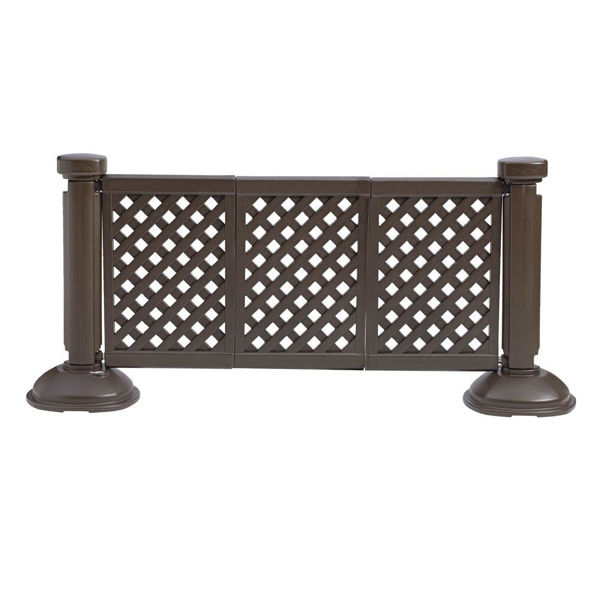 Picture of Grosfillex Resin Patio Fence 3 Panel Section In Brown Pack Of 1