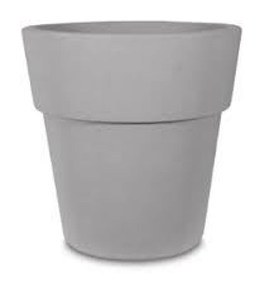 """Picture of Grosfillex Solta 15"""" Round Commercial Planter In Sierra Cement Pack Of 5"""
