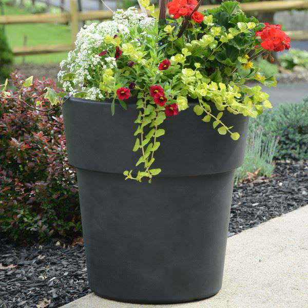 "Picture of Grosfillex Solta 15"" Round Commercial Planter In Brushed Blackwash Pack Of 5"