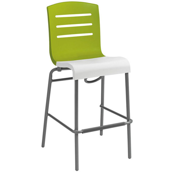 Picture of Grosfillex Domino Stacking Barstool In Fern Green Back And White Seat Pack Of 8