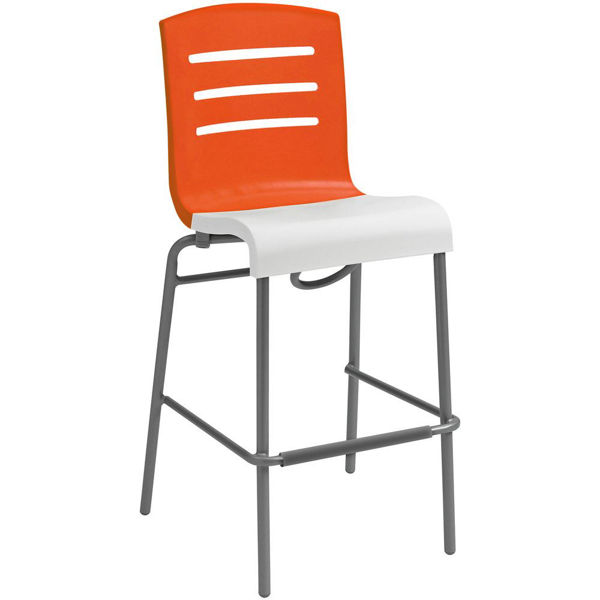 Picture of Grosfillex Domino Stacking Barstool In Orange Back And White Seat Pack Of 8