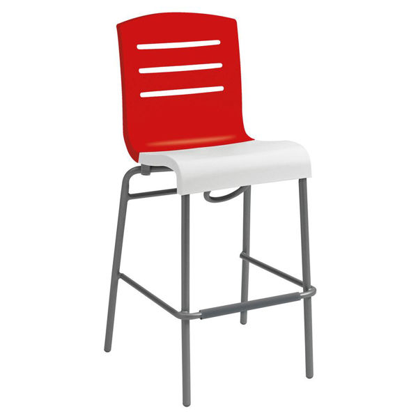 Picture of Grosfillex Domino Stacking Barstool In Red Back And White Seat Pack Of 2