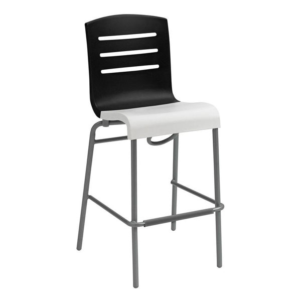 Picture of Grosfillex Domino Stacking Barstool In Black Back And White Seat Pack Of 8