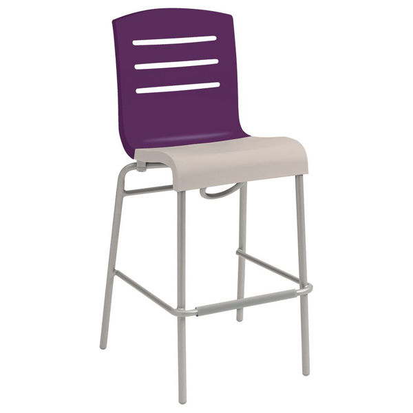Picture of Grosfillex Domino Stacking Barstool In Eggplant Back And Linen Seat Pack Of 8