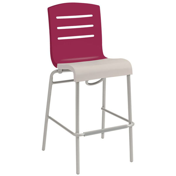 Picture of Grosfillex Domino Stacking Barstool In Raspberry Back And Linen Seat Pack Of 8