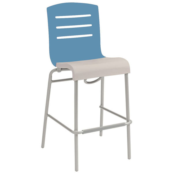 Picture of Grosfillex Domino Stacking Barstool In Storm Blue Back And Linen Seat Pack Of 8