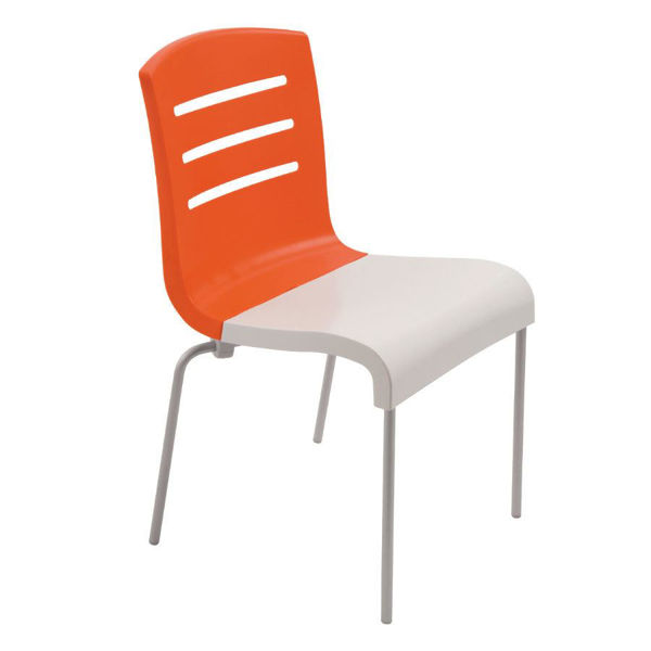 Picture of Grosfillex Domino Stacking Chair In Orange Back And White Seat Pack Of 4