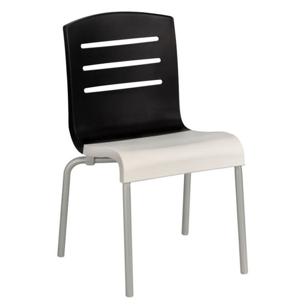Picture of Grosfillex Domino Stacking Chair In Black Back And White Seat Pack Of 4