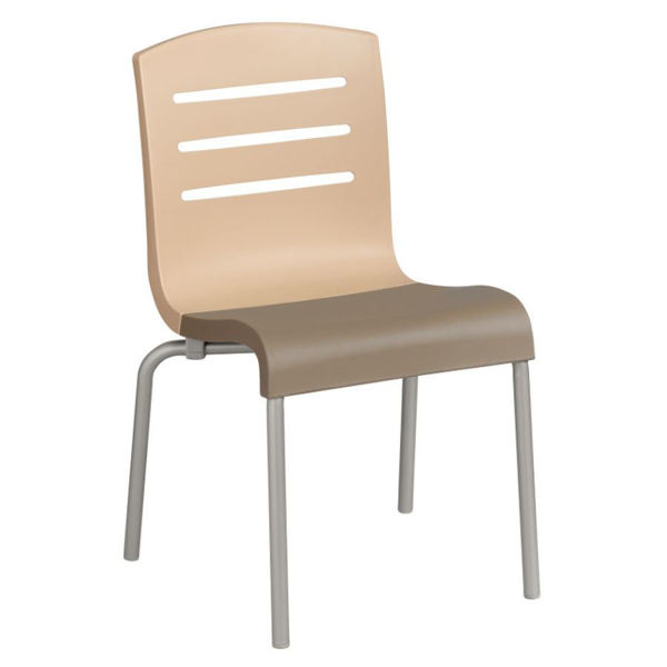 Picture of Grosfillex Domino Stacking Chair In Beige Back And Taupe Seat Pack Of 4