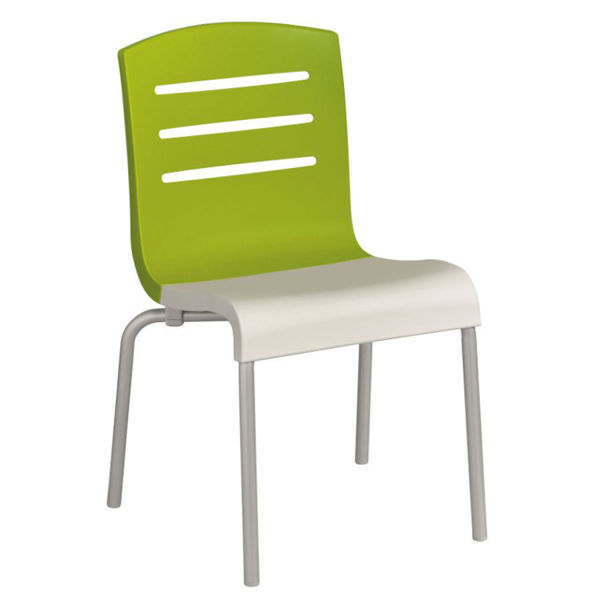 Picture of Grosfillex Domino Stacking Chair In Fern Green Back And White Seat Pack Of 4
