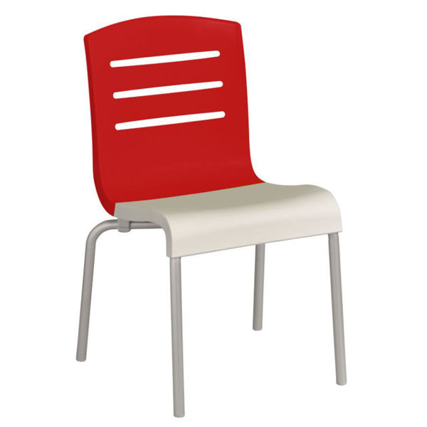 Picture of Grosfillex Domino Stacking Chair In Red Back And White Seat Pack Of 4