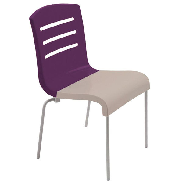 Picture of Grosfillex Domino Stacking Chair In Eggplant Back And Linen Seat Pack Of 4