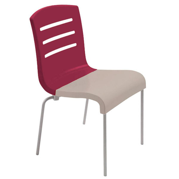 Picture of Grosfillex Domino Stacking Chair In Raspberry Back And Linen Seat Pack Of 4