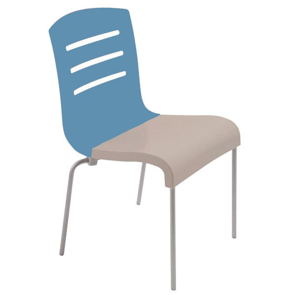 Picture of Grosfillex Domino Stacking Chair In Storm Blue Back And Linen Seat Pack Of 4