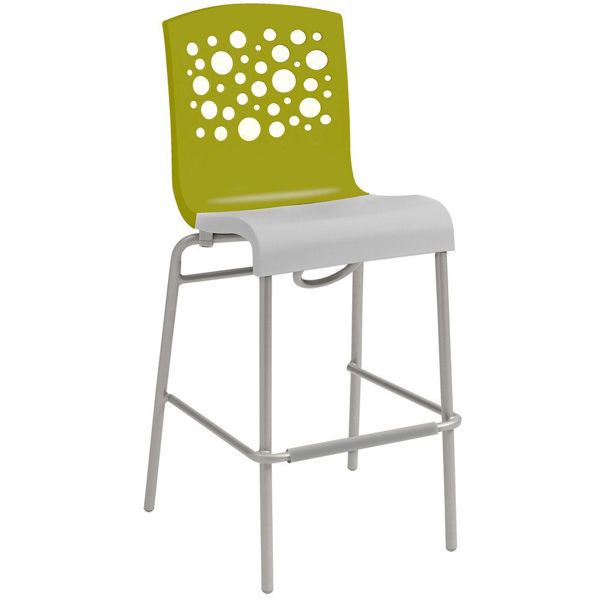 Picture of Grosfillex Tempo Stacking Barstool In Fern Green Back And White Seat Pack Of 8