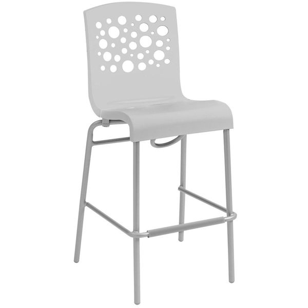 Picture of Grosfillex Tempo Stacking Barstool In White Back And White Seat Pack Of 8