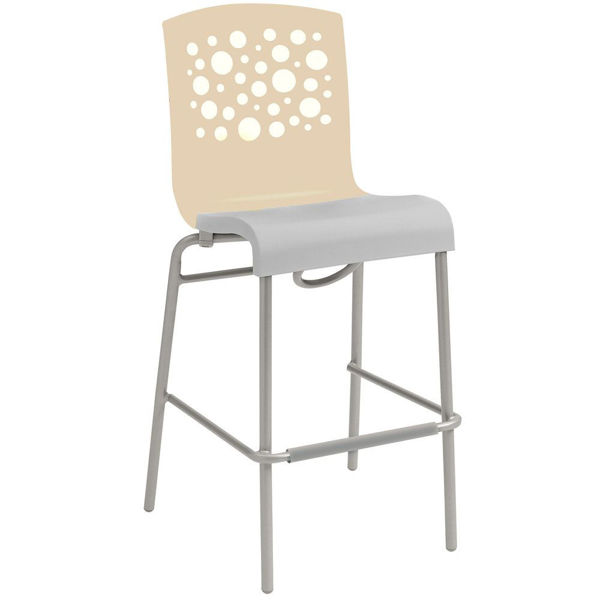 Picture of Grosfillex Tempo Stacking Barstool In Beige Back And Taupe Seat Pack Of 8