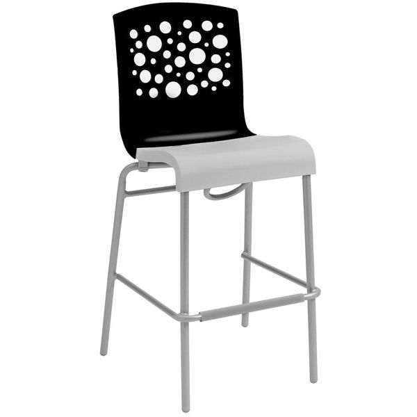 Picture of Grosfillex Tempo Stacking Barstool In Black Back And White Seat Pack Of 8