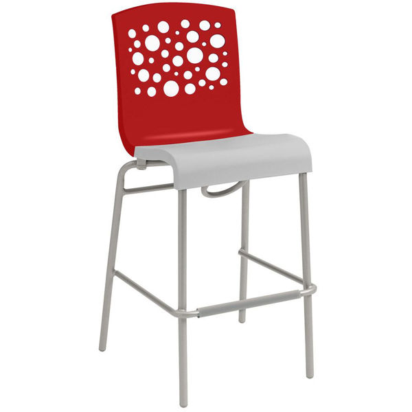 Picture of Grosfillex Tempo Stacking Barstool In Red Back And White Seat Pack Of 8