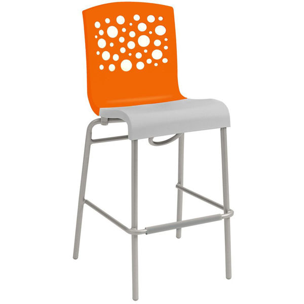 Picture of Grosfillex Tempo Stacking Barstool In Orange Back And White Seat Pack Of 8