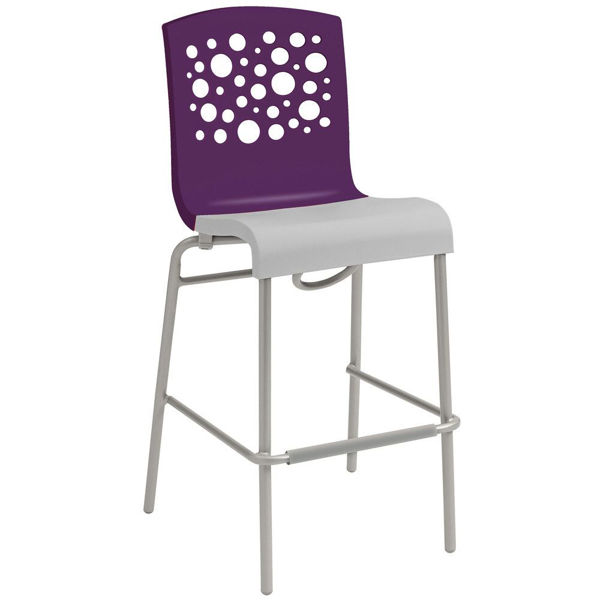 Picture of Grosfillex Tempo Stacking Barstool In Eggplant Back And Linen Seat Pack Of 8