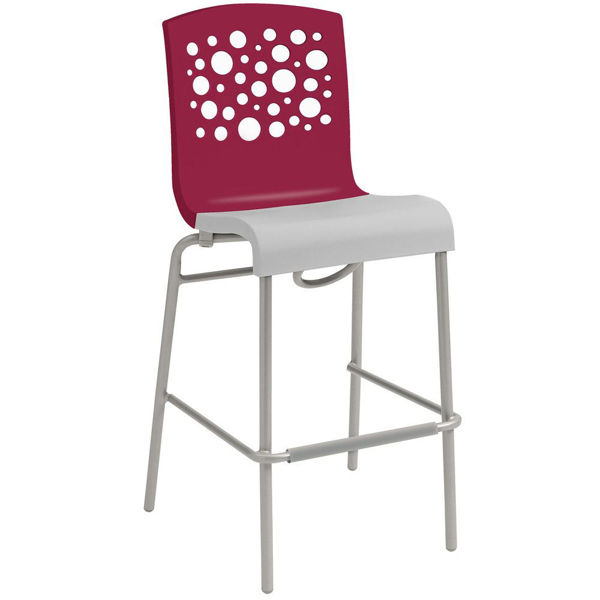 Picture of Grosfillex Tempo Stacking Barstool In Raspberry Back And Linen Seat Pack Of 2