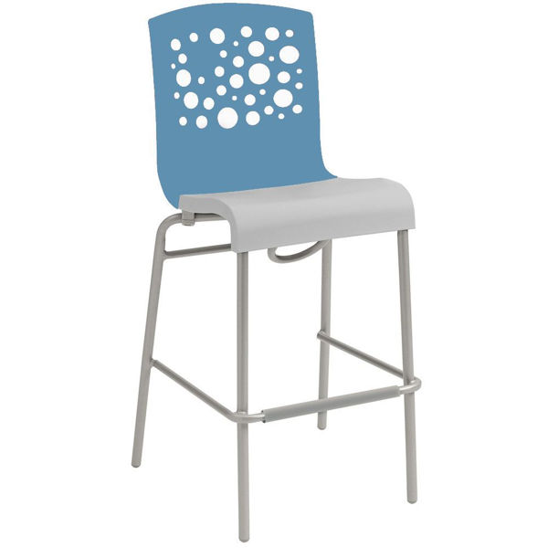 Picture of Grosfillex Tempo Stacking Barstool In Storm Blue Back And Linen Seat Pack Of 8