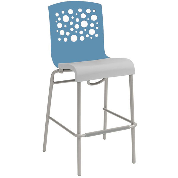Picture of Grosfillex Tempo Stacking Barstool In Storm Blue Back And Linen Seat Pack Of 2