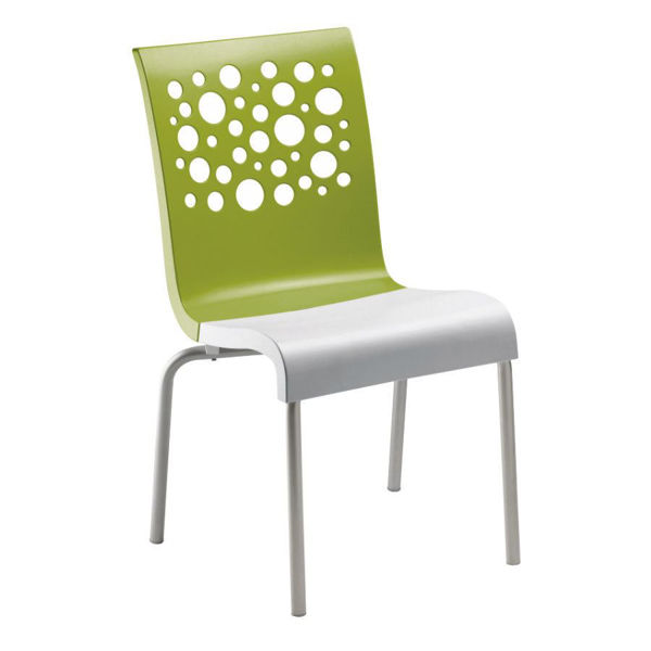 Picture of Grosfillex Tempo Stacking Chair In Fern Green Back And White Seat Pack Of 4