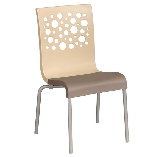 Picture of Grosfillex Tempo Stacking Chair In Beige Back And Taupe Seat Pack Of 4
