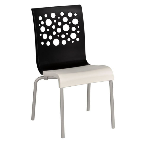 Picture of Grosfillex Tempo Stacking Chair In Black Back And White Seat Pack Of 4
