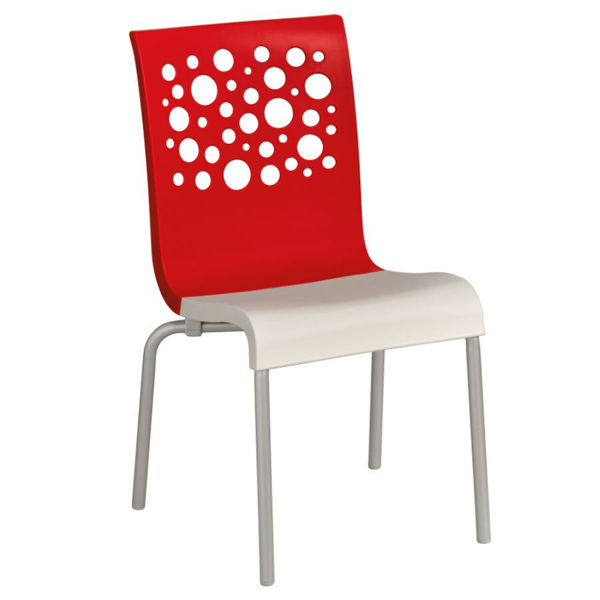 Picture of Grosfillex Tempo Stacking Chair In Red Back And White Seat Pack Of 4