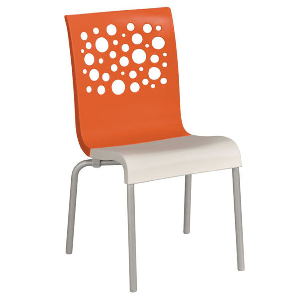 Picture of Grosfillex Tempo Stacking Chair In Orange Back And White Seat Pack Of 4