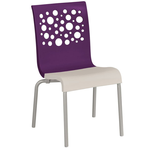 Picture of Grosfillex Tempo Stacking Chair In Eggplant Back And Linen Seat Pack Of 4