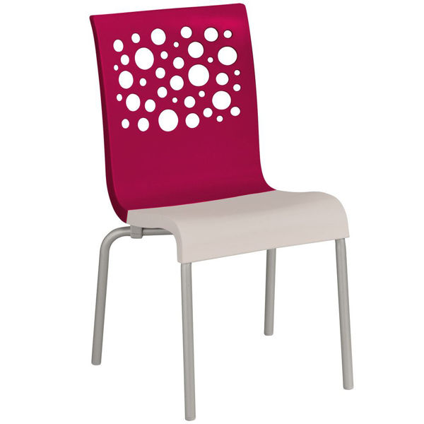 Picture of Grosfillex Tempo Stacking Chair In Raspberry Back And Linen Seat Pack Of 4