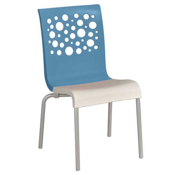 Picture of Grosfillex Tempo Stacking Chair In Storm Blue Back And Linen Seat Pack Of 4