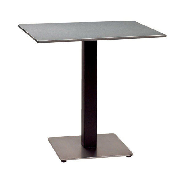 """Picture of Grosfillex 30"""" Square HPL Tabletop with Rails In Brushed Aluminium Pack Of 1"""