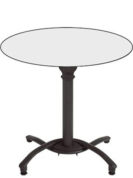 """Picture of Grosfillex 36"""" Round HPL Tabletop with Rails In White Pack Of 1"""