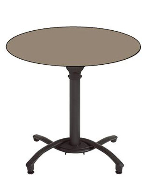 "Picture of Grosfillex 36"" Round HPL Tabletop with Rails In Taupe Pack Of 1"
