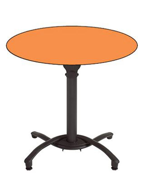 """Picture of Grosfillex 36"""" Round HPL Tabletop with Rails In Mango Pack Of 1"""