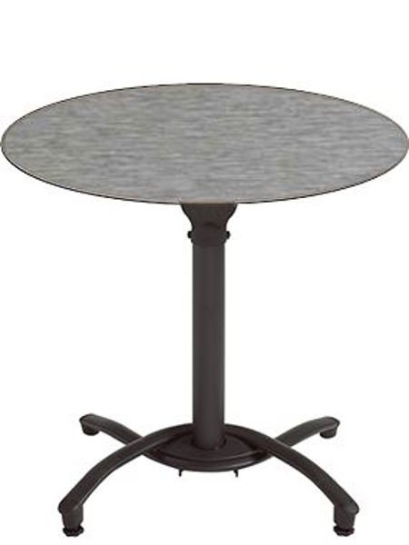 "Picture of Grosfillex 36"" Round HPL Tabletop with Rails In Brushed Aluminium Pack Of 1"