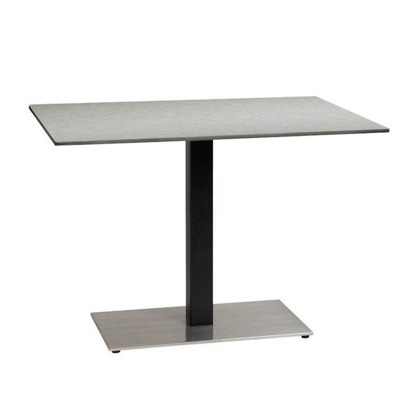 Picture of Grosfillex 30' x 42' HPL Tabletop with Rails In Brushed Aluminum Pack Of 1
