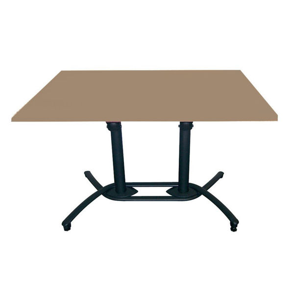 Picture of Grosfillex 30' x 48' HPL Tabletop with Rails In Taupe Pack Of 1