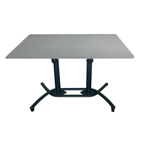 Picture of Grosfillex 30' x 48' HPL Tabletop with Rails In Brushed Aluminum Pack Of 1